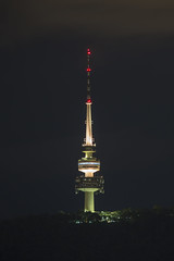 Canberra by night (vk2gwk - Henk T) Tags: tower night long exposure shot australia telstra canberra act communications
