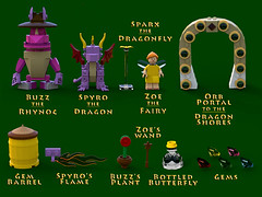Spyro the Dragon - Characters and accessories (bradders1999) Tags: game classic station digital vintage project fire one 1 video support play dragon lego dragonfly designer egg barrel games retro gaming fairy fantasy ps1 theif videogame hunter portal vote ideas playstation insomniac sparx spyro moc ldd purist rhynoc