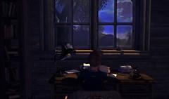 Out of words (Faskirb) Tags: secondlife sl sky tree clouds lamp table books bookshelf typewriter avatar telephone window indoor frisland maitreya tattoo