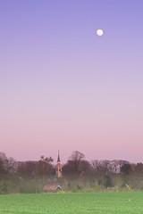 Nachtwaker (Harm Weitering) Tags: zonsondergang kerk drenthe dorp landschap odoorn maan