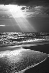 Sunset Epirus Greece (massonth) Tags: light sea bw sun white black reflection beach canon wave greece grece skt g7x