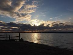 Beach View IMG_3017 (iloleo) Tags: toronto nature clouds sunrise fence landscape scenic lakeontario cherrybeach iphone