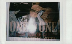Double Exposure: Picasso/Lennon (Aaron Sheahan) Tags: old man film by john poster polaroid one concert exposure fuji with guitar pablo 8 mini double picasso instant fujifilm lennon instax