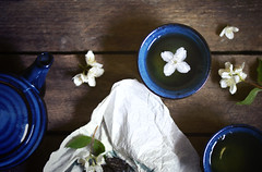 (jakub.sulima) Tags: from above wood flowers blue stilllife food plants brown white plant flores flower green art cup nature fleur beauty leaves closeup dark studio ceramic table 50mm wooden leaf high flora nikon colours view natural tea drink blossom top decay jasmine natur indoor pot bloom inside nikkor f18 tableware d3200