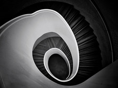 Cryogenic (Douguerreotype) Tags: city uk england urban blackandwhite bw abstract london monochrome architecture stairs buildings dark spiral mono britain steps gb british helix