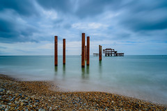 West Pier - Brighton (Aleem Yousaf) Tags: sea west english beach pier photo seaside support nikon brighton soft waterfront post outdoor walk destruction columns shell pebbles filter trust birch remains channel graduated d800 eugenius 1835mm