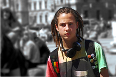 Resist Fashion (joseph_donnelly) Tags: street boy man colour fashion germany munich mnchen bayern deutschland weed protest headphones badges rasta protester resist rastafari selective affinity affinityphoto resistfashion