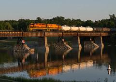 Grand River Reflections (Joseph Bishop) Tags: railroad reflection train track tracks rail railway trains rails grandriver railfan caledonia sor emd sd402 3404 3049 railink southernontariorailway rlhh cnhagersvillesubdivision