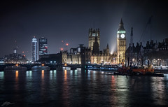 Westminster at Night (ScottSimPhotography) Tags: city uk bridge houses england panorama mist london water westminster misty thames architecture night river dark lights evening amazing fantastic cityscape view nightscape darkness britain spires sony capital foggy parliament bigben spotlight fantasy across floodlight hungerfordbridge sonya6000