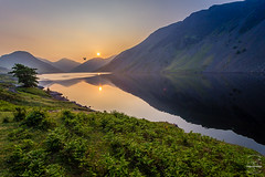 Passing Sunrise (tristantinn) Tags: summer sky sun mountain lake mountains fern green bird nature water sunrise landscape dawn wildlife lakes lakedistrict cumbria scree wastwater wasdale scee