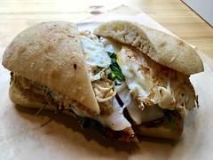 almost veggie sandwich from Bacon Bacon Cafe (Fuzzy Traveler) Tags: sanfrancisco food cheese breakfast bread bacon egg sandwich soma bun provolone ciabatta broccolirabe baconbacon