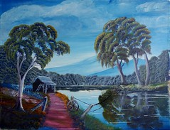 Australian Country Scene (Catsmad55) Tags: painting acrylic country australia scene len hend