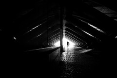 (ajhenriques) Tags: street city light people bw white abstract black portugal contrast digital walking shadows lisboa lisbon tunnel silhouete minimal human