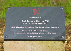 DSC_0112 copy (photospencer) Tags: memorial ww1 vc reddragon inmemoryof thesomme victoriacross royalwelshfusiliers delvillewood battleofthesomme royalwelchfusiliers 10thbattalion forconspicuousgallantry 20thjuly1916 cpljjdavies ptealberthill cpljosephdavies