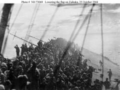 Crewmembers salute as the Japanese Naval Ensign is lowered on the sinking carrier Zuikaku (1944) [1480 x 1100] #HistoryPorn #history #retro http://ift.tt/1U3LbG6 (Histolines) Tags: history japanese is salute x retro timeline naval lowered carrier sinking 1944 ensign 1100 crewmembers vinatage 1480 historyporn zuikaku histolines httpifttt1u3lbg6