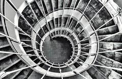 Downward Spiral Mono (robinta) Tags: urban blackandwhite abstract texture monochrome architecture contrast mono pentax patterns ks1 pentaxdal1855mm snapseed