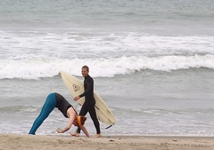Surfer (Robert Borden) Tags: ocean california people beach yoga pose outside surfer candid surfing yogi venturabeach ventura briannebordencom