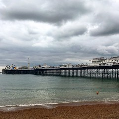(torysmith) Tags: summer beach water train pier brighton cloudy stones sunny visit journey southcoast edit dayout iphone