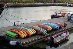 Coloured Kayaks (mikecogh) Tags: dublin dock rental colourful kayaks pontoon riverliffey