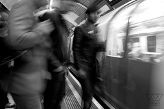 WHAT ARE YOU LOOKING? (lonewolf_studio) Tags: people blackandwhite london underground subway photography transport tube londres