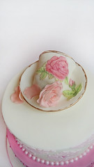 Teacup Vintage Cake (K's fondant Cakes) Tags: pink roses white cup vintage tea pearls fondant damask