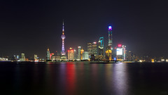 Evening skyline (Lowcola) Tags: skyline night skyscraper river evening neon shanghai widescreen pudong huangpu lujiazui 2015