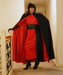 Red Again (12) (Furre Ausse) Tags: red black leather vintage belt long dress boots wide full gloves cape cloak satin length lined