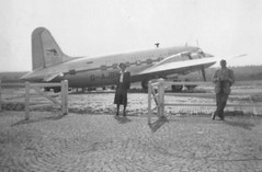 Jean and friends at Basle Airport Switzerland (Bury Gardener) Tags: bw plane vintage switzerland airport 1950s oldies 1952 basle