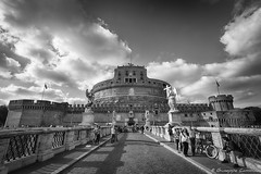 Castel Sant'Angelo (Giuseppe Cammino) Tags: bridge blackandwhite bw italy rome roma angel clouds canon eos italia nuvole bn ponte 5d angelo ef hdr highdynamicrange biancoenero castelsantangelo lazio canoneos5d ef1740mmf4lusm 2013 canoneos5dmarkiii 5dmarkiii giuseppecammino