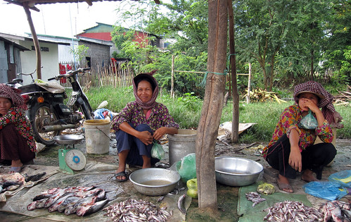 Women selling fish in local maket , Cambodia. Photo by Jharendu Pant, 2009.