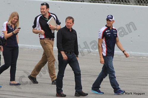 Martin Brundle and Pastor Maldonado doing a track walk at the 2013 Spanish Grand Prix