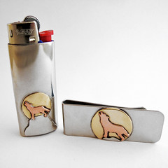Custom Money Clip and Lighter Sleeve (Nina Gibson) Tags: moon wolf handmade copper nickel brass howling moneyclip mensaccessories lightersleeve