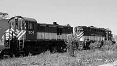 OSR 504 (Ramblings From The 4th Concession) Tags: freighttrains mlw osr blackandwhitephotos diesellocomotives rs23 guelphont blackandwhitetrains canonrebelxsi mlwlocomotives ontariosouthlandrailway osr504 guelphnorthspur canon18135stmlens
