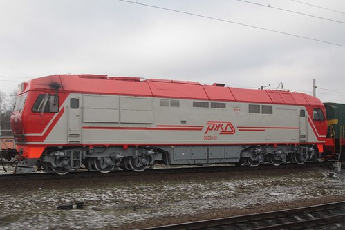 Russian Railways class ТЭП70У diesel electric locomotive shunting the yard at Казинка (Kazinka)