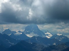 Mt Rundle Scramble 29 - Mt Assiniboine via telephoto (benlarhome) Tags: mountain canada montagne trekking trek rockies nationalpark hiking hike alberta rockymountain banff cloudscapes scramble gebirge mtrundle banffsprings fairmontbanffsprings