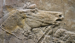 Lion Hunts of Ashurbanipal, spooked horse