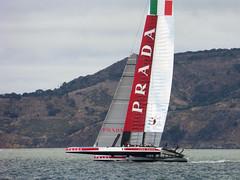 Luna Rossa on upwind leg (morozgrafix) Tags: sanfrancisco california sailing unitedstates racing americascup louisvuitton lunarossa louisvuittoncup ac34 ac72 panasonicdmczs25