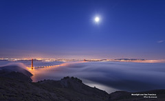 Moonlight over San Francisco (davidyuweb) Tags: sf sanfrancisco california bridge summer usa reflection fog golden gate san francisco low over moonrise moonlight sfbay sfist