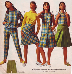 Sears 66 ss yellow blue plaid (jsbuttons) Tags: vintage clothing mod 60s buttons sears womens 1966 clothes button catalog plaid sixties pleated buttonfront buttonfrontdress