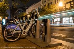 Bay Area Bike Share (P1100422) (Michael.Lee.Pics.NYC) Tags: sanfrancisco street light bike night bay long exposure traffic market trail area share
