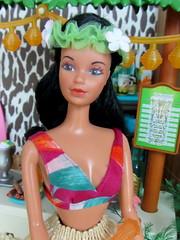 (2) Aolani (Foxy Belle) Tags: beach face animal bar print hawaii sand doll coconut lounge barbie bikini hawaiian tropical 1970s tiki 1980s mattel diorama steffie