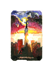 fallout sunset (Josh Torin) Tags: newyorkcity sunset summer sky weather skyline architecture buildings watercolor painting subway landscape miniatures landscapes miniature joshua manhattan paintings josh mta gouache vignette plein metrocard torin apocalyptic guache mushroomcloud miniaturepainting mckeon pocketart joshtorinmckeon metrocardminiatures metrocardpaintings