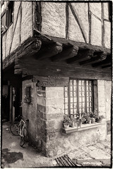 Pentacle In Alet-Les-Bains (rvanr) Tags: wood house france flower window bicycle stone wall symbol beam pot pentacle witchcraft