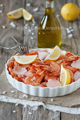 Raw shrimp (Oxana Denezhkina) Tags: red food white green cooking closeup dinner pepper cuisine lemon healthy italian mediterranean rustic culture tasty shrimp prawns bowl fresh meat gourmet mexican spanish meal shellfish garlic seafood pan appetizer crustacean fried herb shrimps prawn frying scampi