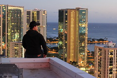 Roof Topping (E_milTakesPics) Tags: ocean city blue roof sky beach beautiful night clouds buildings 50mm lights hawaii sand pacific oahu ala beaches honolulu levis pacifica blvd topping moana kakaako rooftopping