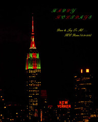 Empire State Buildings 2013 (Part 4 of 5) Christmas Colors & New York City (Manhattan) Skyline from Weehawken NJ:  Midtown Night View (takegoro) Tags: christmas new york skyline skyscrapers state manhattan views new city jersey empire building weehawken