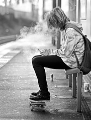 eSmoking (D.J. De La Vega) Tags: street white black station nikon metro cigarette smoke 85mm f18 electronic ecigarette d7000