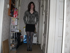 Black and Grey (Starlight Dote) Tags: grey tights pantyhose shortskirt greytights opaqueblacktights