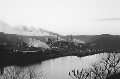 sun breaking over Edgar (Stranger1970) Tags: leica blackandwhite mill film 35mm pittsburgh pa ilford m6 braddock stell steelmill 100speed