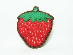 Strawberry felt brooch - Wearable fruits (hanaletters) Tags: rabbit strawberry pin brooch felt hedgehog etsy handamade hanaletters